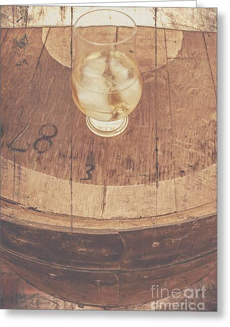 Glass Of Cellar Brandy On Old Barrel  Greeting Card