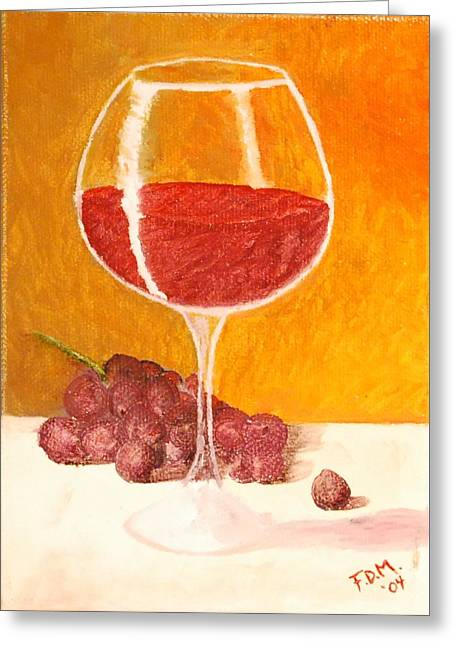 Glass Of Grapes Greeting Card