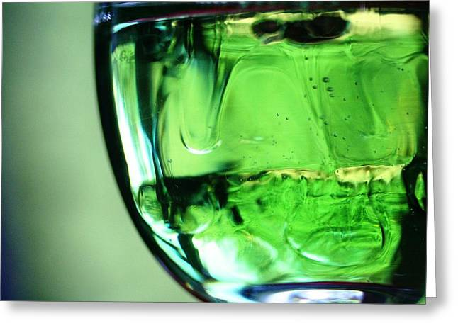 Glass Of Green Greeting Card by Rachelle Johnston