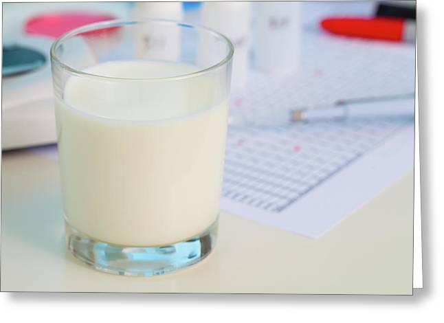 Glass Of Milk Being Analysed In Lab Greeting Card by Wladimir Bulgar