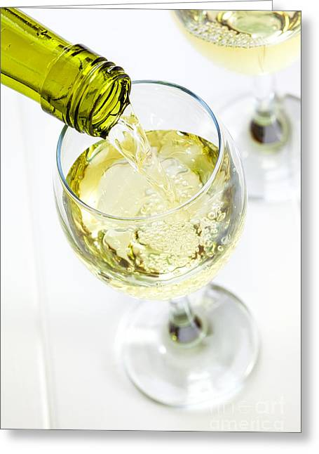 Glass Of White Wine Being Poured Greeting Card