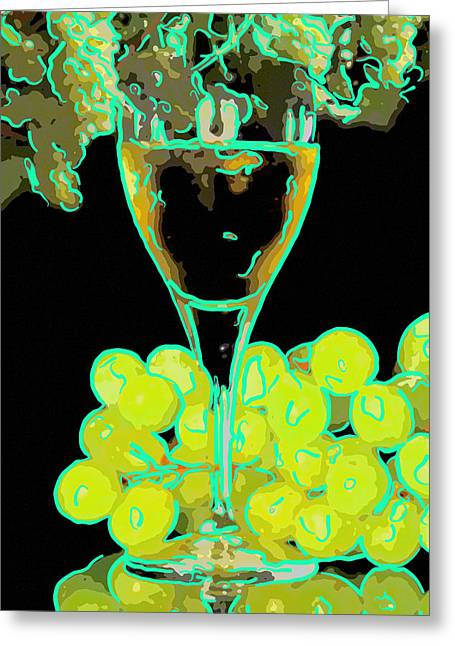 Glass Of White Wine Greeting Card by Tommytechno Sweden