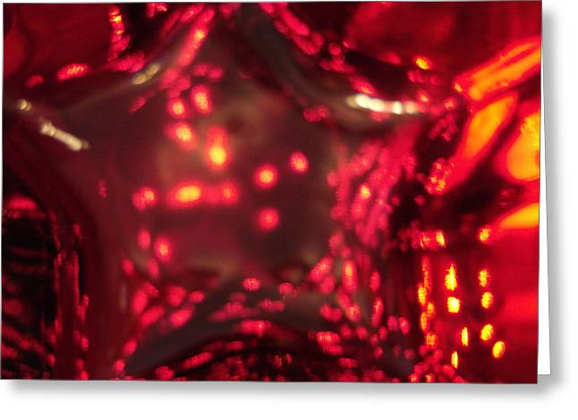 Glass Red And Orange Star Greeting Card
