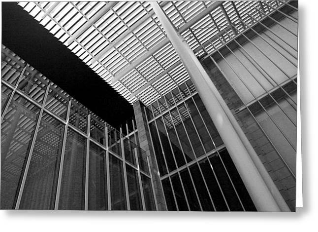 Glass Steel Architecture Lines Black White Greeting Card