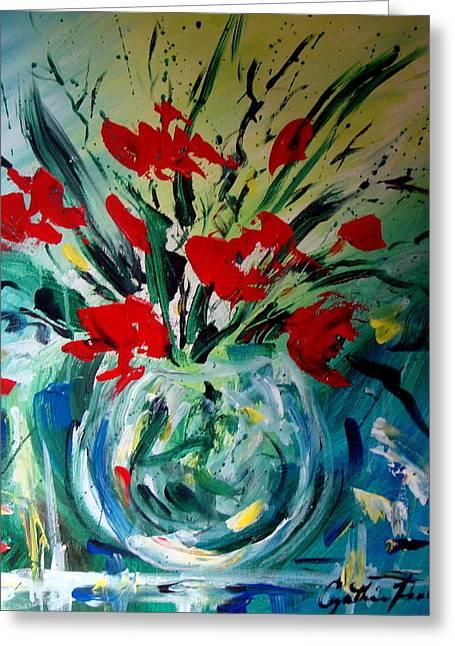 Glass Vase Greeting Card by Cynthia Hudson