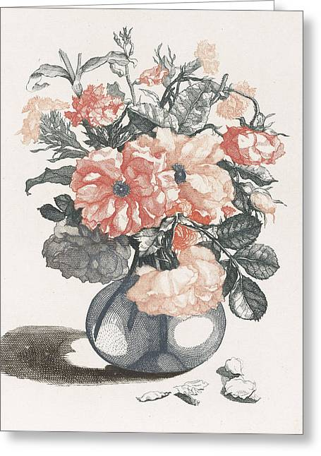 Glass Vase With Flowers, Print Maker Anonymous Greeting Card