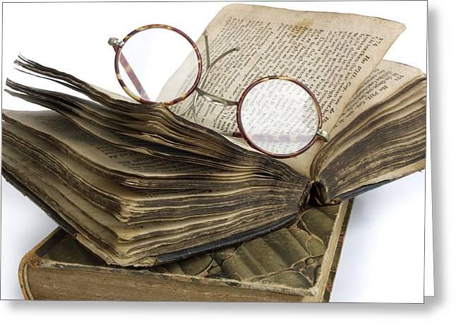 Glasses And Book Greeting Card by Bernard Jaubert