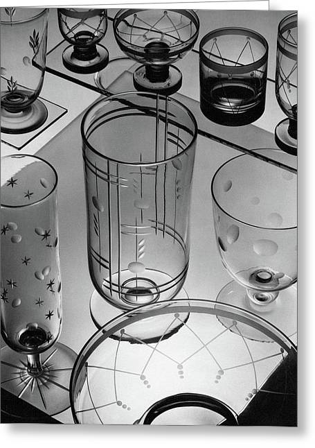 Glasses And Crystal Vases By Walter D Teague Greeting Card