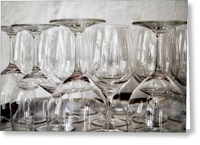 Wine Glasses On A Barrel Greeting Card by Georgia Fowler