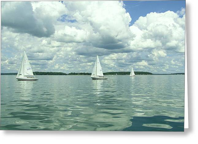 Glassy Sailing Greeting Card by John Wartman