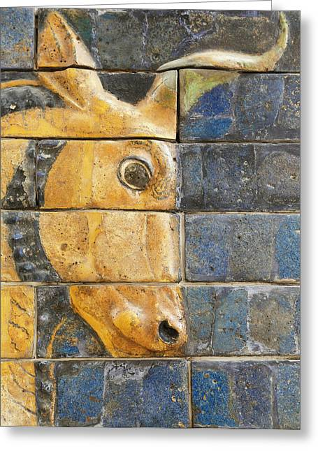 Glazed Brick Bull, Ishtar Gate, Babylon Greeting Card by Ken Welsh