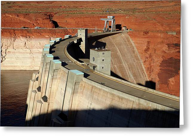 Glen Canyon Dam Across Colorado River Greeting Card by David Wall