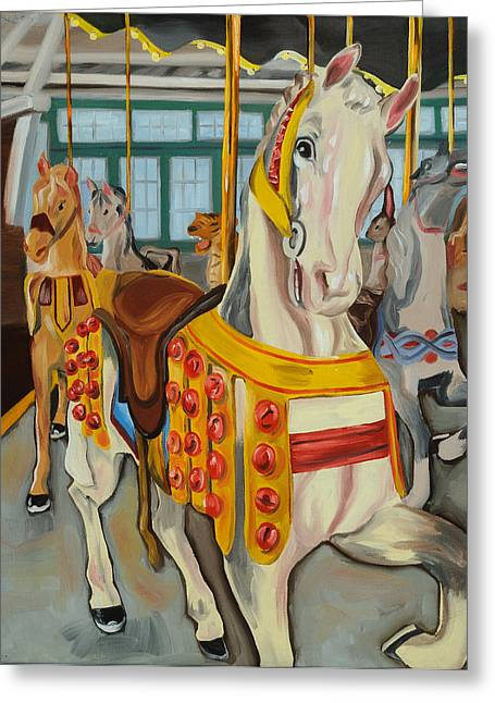 Glen Echo Carousel Greeting Card by Anne Lewis