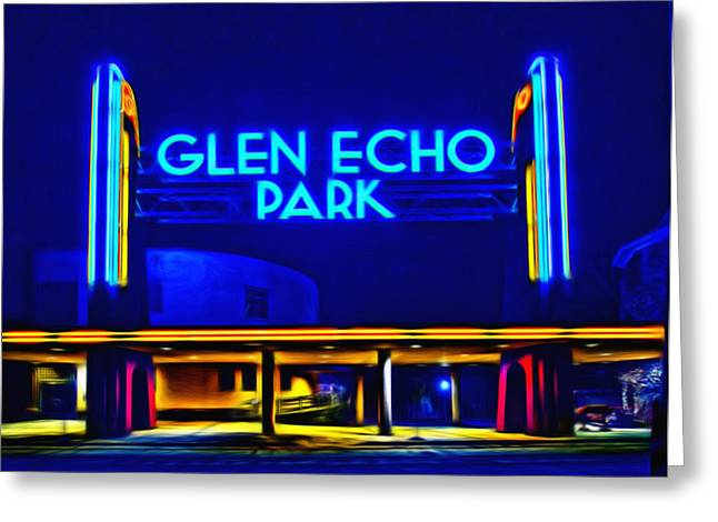 Glen Echo Park At Night Greeting Card by Carl Cox