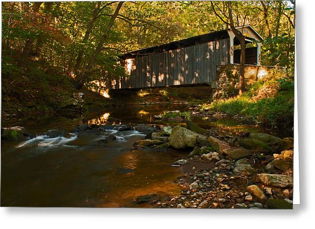 Glen Hope Covered Bridge Greeting Card by Michael Porchik