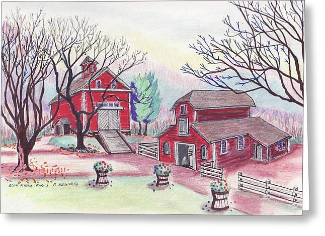 Glen Magna Farms - The Barns Greeting Card by Paul Meinerth