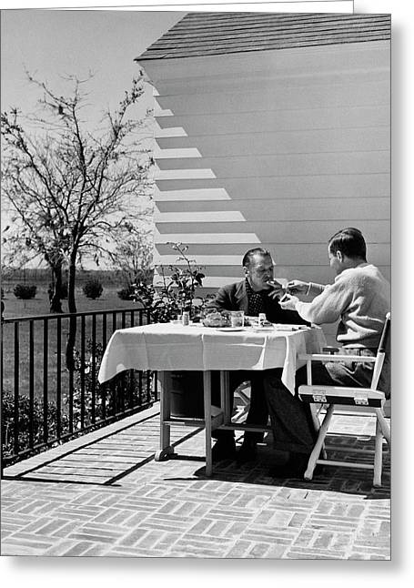 Glenway Wescott And Somerset Maugham On A Porch Greeting Card by  Balkin-Pix