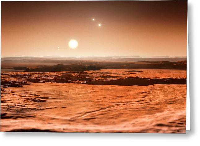 Gliese 667 Triple-star System Greeting Card by Eso/m. Kornmesser