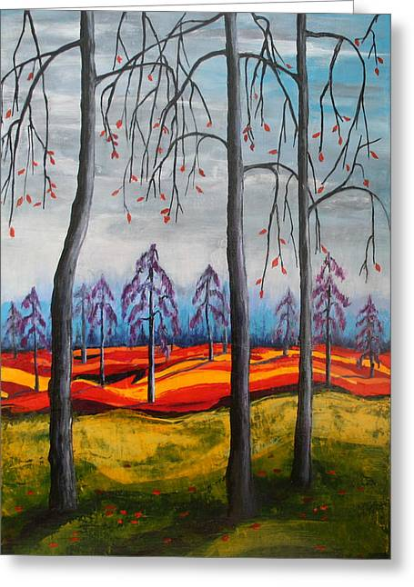 Glimpse Of Autumn Greeting Card by Kathy Peltomaa Lewis