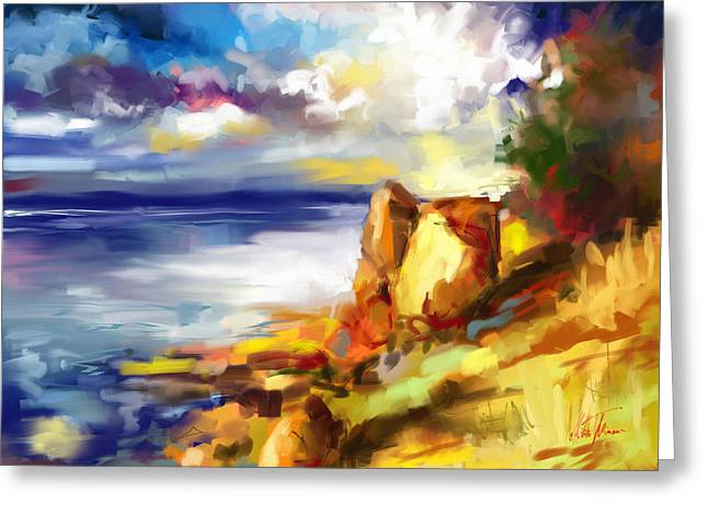 Glimpse Of The Sun In The Storm  Greeting Card by Mikko Tyllinen