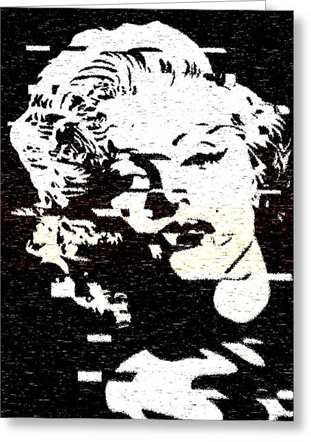 Glitch Art Marylin Monroe Greeting Card