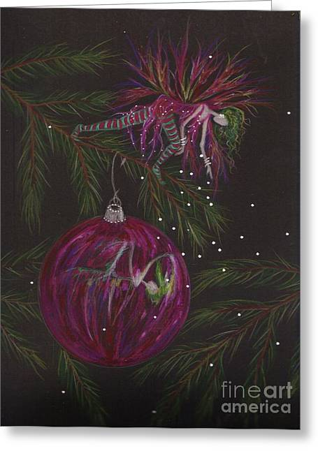 Pine Needles Drawings Greeting Cards - Glitter Drop Greeting Card by Dawn Fairies