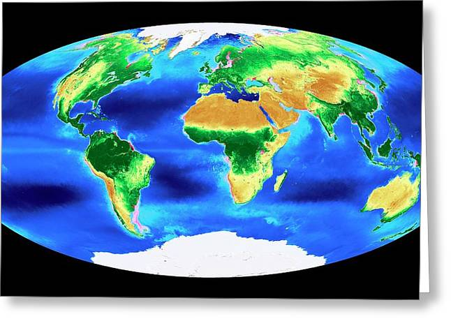 Global Biosphere Greeting Card by Nasa's Goddard Space Flight Center
