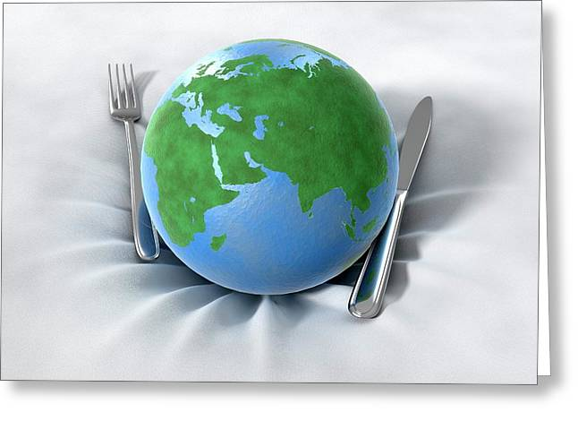 Global Food Production Greeting Card by Animated Healthcare Ltd