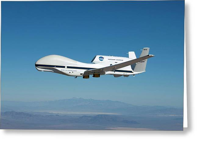 Global Hawk Unmanned Aerial Vehicle Greeting Card by Nasa/tom Miller