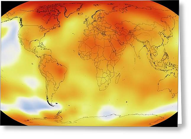Global Temperature Rise From 1950-2013 Greeting Card by Nasa/gsfc
