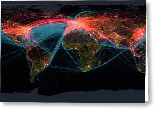 Global Transport Networks On Night Map Greeting Card