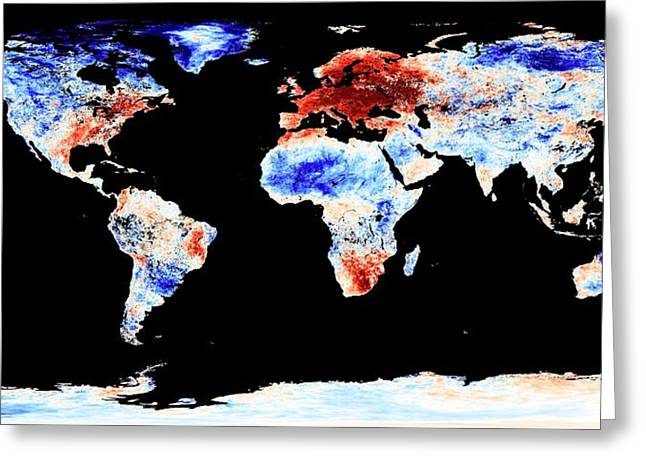 Global Warming Record Greeting Card by Jesse Allen, Nasa Earth Observatory/modis Land Group