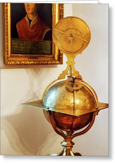 Globe And Portrait Of Copernicus Greeting Card by Babak Tafreshi