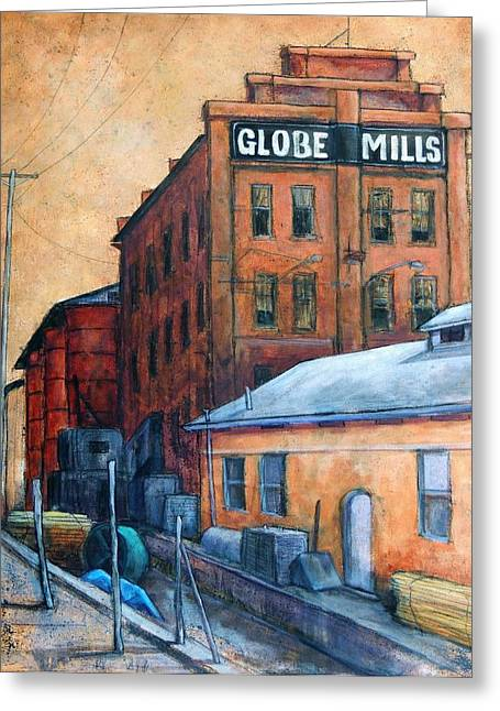 Globe Mills Greeting Card by Candy Mayer