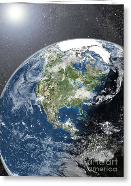 Globe Showing Northern America Greeting Card by Planet Observer