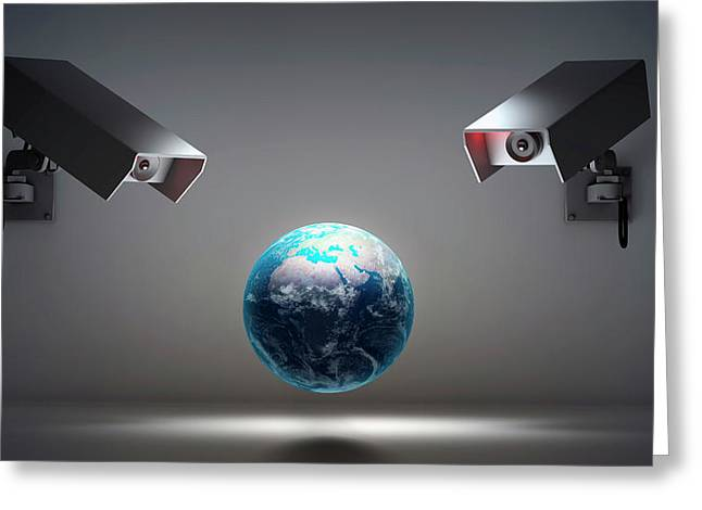 Globe With Security Cameras Greeting Card by Andrzej Wojcicki