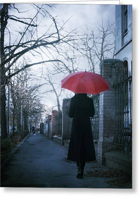 Gloomy Street Greeting Card by Cambion Art
