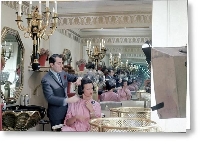 Gloria Vanderbilt At The Revlon Boutique Greeting Card by Horst P. Horst