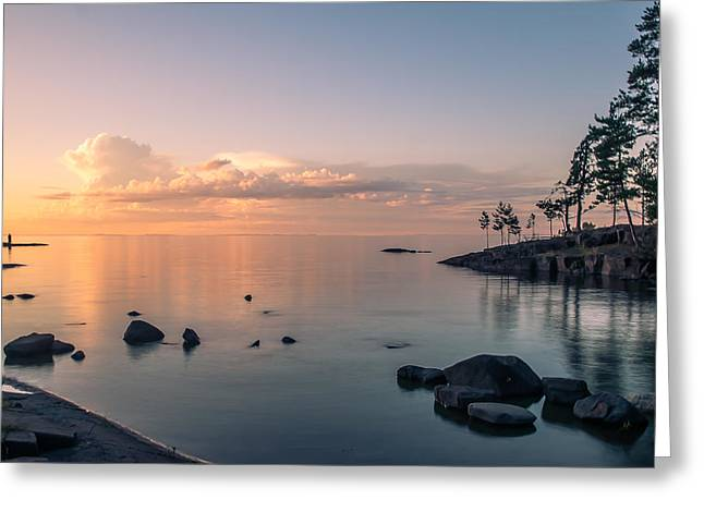 Glorious End Of The Day. Valaam. Northern Russia Greeting Card by Jenny Rainbow