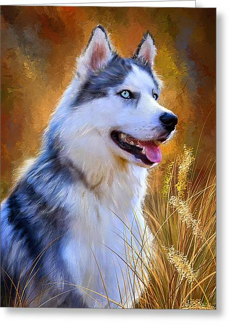 Glorious Pride - Siberian Husky Portrait Greeting Card by Lourry Legarde