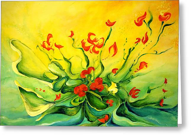 Greeting Card featuring the painting Glorious by Teresa Wegrzyn