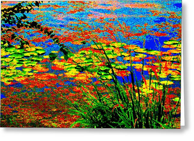 Glorious Water Lilies Banks Of The Lachine Canal Montreal Summer  Scenes Art Carole Spandau Greeting Card by Carole Spandau