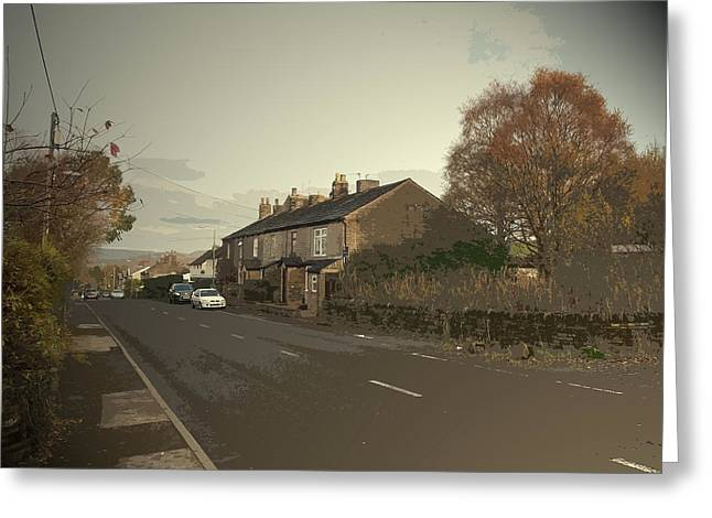 Glossop Road In Charlesworth, The A626 Road Seen Here Greeting Card