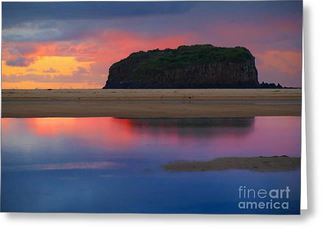 Greeting Card featuring the photograph glow around Stack Island by Trena Mara