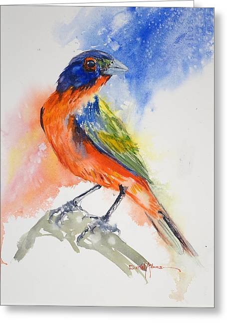 Da188 Glow Of The Painted Bunting Daniel Adams Greeting Card