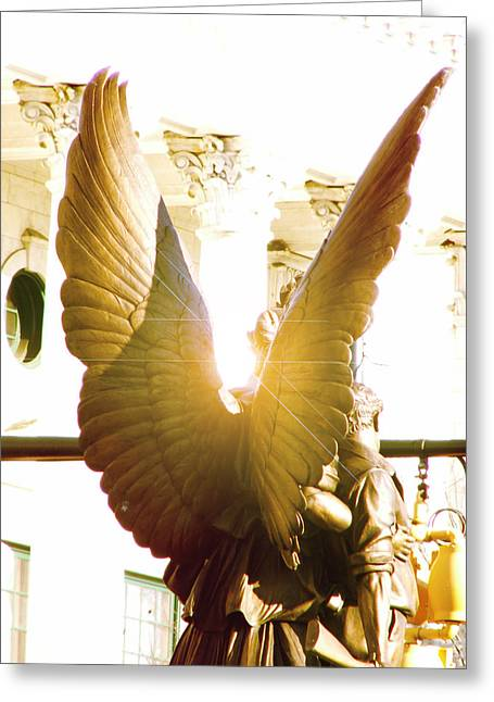 Glowing Angel Greeting Card by Misty Stach