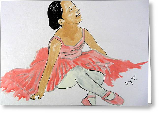Glowing Ballerina Greeting Card by Erin T
