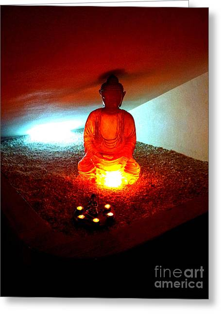Glowing Buddha Greeting Card by Linda Prewer