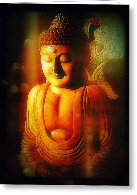 Greeting Card featuring the photograph Glowing Buddha by Paul Cutright