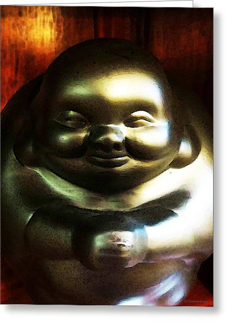 Glowing Buddha - Zen Art By Sharon Cummings Greeting Card